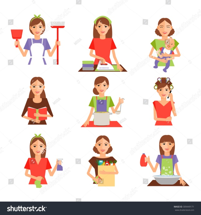 stock-vector-set-of-housewife-icon-in-flat-style-homemaker-cleaning-ironing-cook-wash-and-shopping-vector-309449171